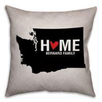 Washington State Pride Square Throw Pillow in Black/White