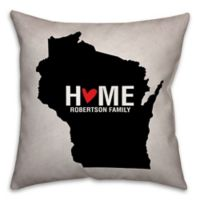 Wisconsin State Pride Square Throw Pillow in Black/White