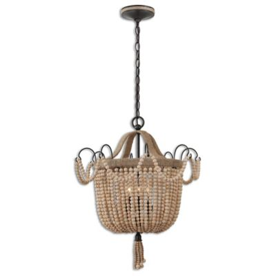 Uttermost Civenna 3 Light Pendant Light With Wood Bead Rope
