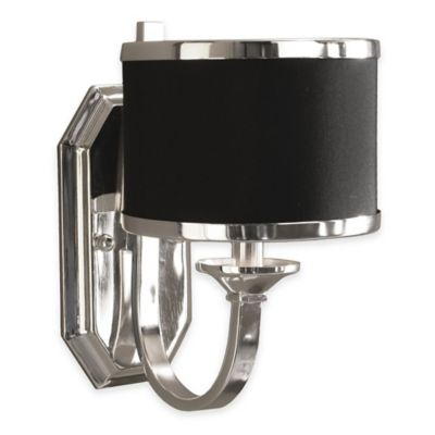 Uttermost Tuxedo 1 Light Wall Sconce In Silver With Black Shade