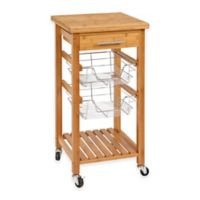 Bamboo Rolling Kitchen Cart with Storage