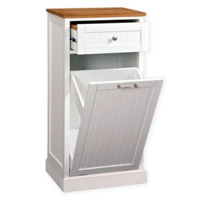 Microwave Kitchen Cart With Hideaway Trash Can Holder In White