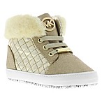 Michael Kors Size 6-9M Faux Fur High Top Sneakers in Gold