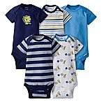 Gerber® ONESIES® Newborn 5-Pack Lion Short Sleeve Bodysuits in Blue/Navy