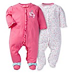 Gerber® Size 0-3M 2-Pack Bird Zip-Front Footies in Pink/White