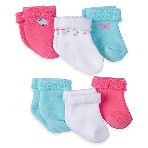 Gerber® 6-Pack Terry Bootie Socks in Pink/Blue/White ...