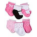 Gerber® Size 0-3M 6-Pack Fancy Novelty Bootie Socks in Pink/White