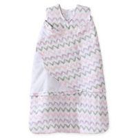 HALO® SleepSack® Newborn Chevron Muslin Adjustable Swaddle in Pink/Grey