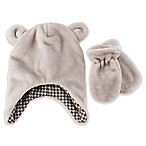 Rising Star™ Size 0-6M Velour Teddy Bear Hat and Mitten Set in Grey