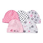 Gerber® Newborn 5-Pack Cap in Pink/White/Dots/Flowers