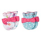 Gerber® Newborn 2-Pack Bow Mittens in Light Blue/Birds Print