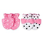 Gerber® Newborn 2-Pack Bow Mittens in Pink/White