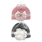 Stepping Stones 2-Pack Flower Crochet Hats in Pink/Grey