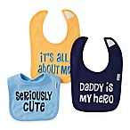 Gerber® 3-Pack Sayings Terry Bibs in Blue/Gold/Navy