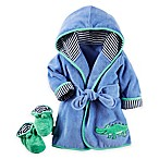 carter's® 2-Piece Alligator Robe and Booties Set in Blue/Green