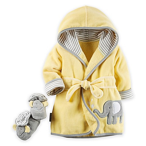 carter's® 2-Piece Elephant Robe and Booties Set in Yellow/Grey