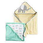 carter's® 2-Pack Elephant Hooded towels in Yellow/Green