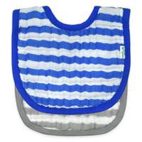 iPlay.® 2-Pack Muslin Stripe Bibs in Royal Blue/Grey