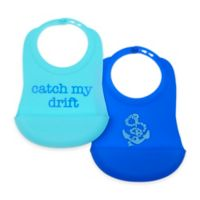 Chewbeads Nautical Boy 2-Pack Silicone Food Bibs in Blue