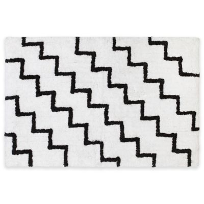 Black White Bath Rug