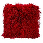 Mina Victory Couture Fur 16-Inch Square Throw Pillow in Red