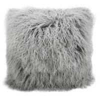 Mina Victory Couture Fur 20-Inch Square Throw Pillow in Silver