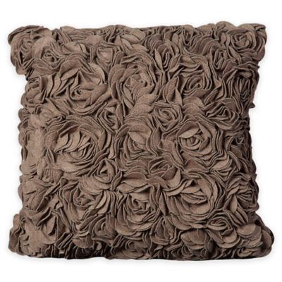 Mina victory felt roses square throw pillow in light brown