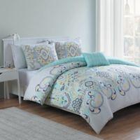 VCNY Amherst 4-Piece Reversible Full/Queen Comforter Set in White/Aqua