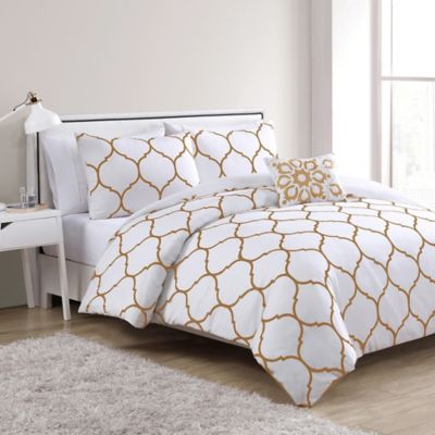 VCNY Ogee 4 Piece Full/Queen Duvet Cover Set In Gold/White