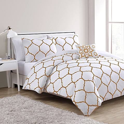 Vcny ogee 4 piece comforter set in gold white www bedbathandbeyond