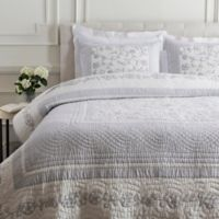 Surya Delaney Cotton/Linen Full/Queen Quilt in Light Grey