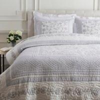 Surya Delaney Cotton/Linen Full/Queen Quilt in Light Grey