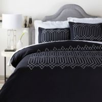 Surya Acca Geometric Twin Duvet Cover in Black