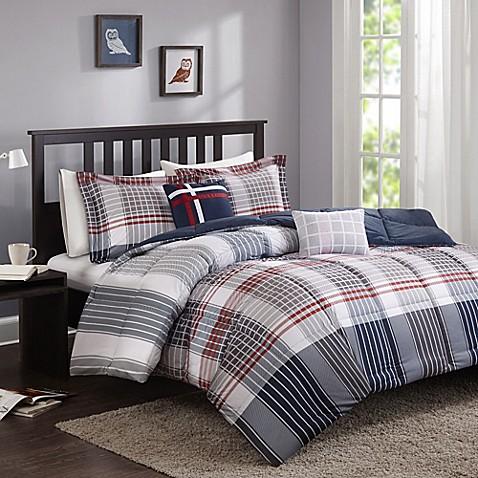 Cozy Soft 174 Caleb Comforter Set In Grey Navy Red Bed Bath