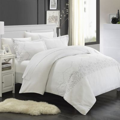 Chic Home Saunder 3 Piece King Duvet Cover Set In White
