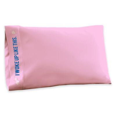 tshirt jersey knit i woke up like this standard pillowcase in pink - Jersey Knit Sheets