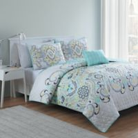 VCNY Amherst 4-Piece Reversible Full/Queen Quilt Set in White/Aqua