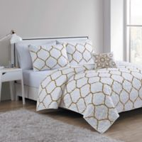 VCNY Ogee 3-Piece Twin/Twin XL Quilt Set in Gold/White