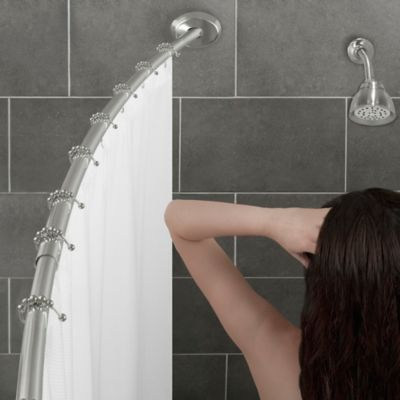 alumia single curved shower rod in brushed nickel