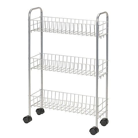 image of Household Essentials® 3-Shelf Slimline Utility Cart in Silver