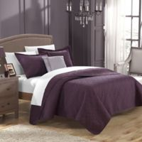 Chic Home Garibaldi 4-Piece Queen Quilt Set in Plum