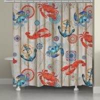 Laural Home® Fresh Catch Shower Curtain in Coral/Blue
