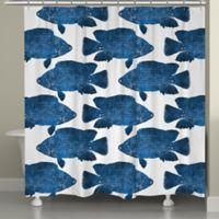 Laural Home® Indigo Fish Shower Curtain