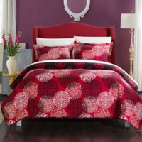Chic Home Kerrie Reversible King Quilt Set in Red