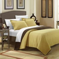 Chic Home Lugano 7-Piece Reversible Queen Quilt Set in Gold