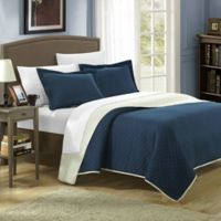 Chic Home Lugano 7-Piece Reversible Queen Quilt Set in Navy