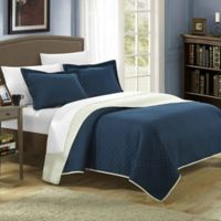 Chic Home Lugano Reversible Twin Quilt Set in Navy