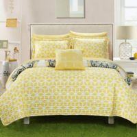 Chic Home Mirador 8-Piece Reversible Full/Queen Quilt Set in Yellow
