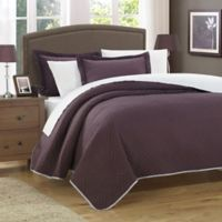 Chic Home Pisa Reversible Twin Quilt Set in Plum/Taupe