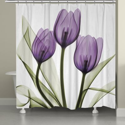 Buy purple white shower curtain from bed bath beyond laural home tulips shower curtain in whitepurple mightylinksfo